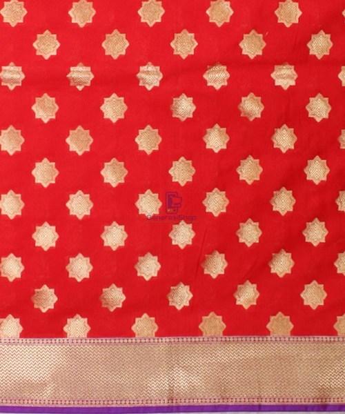Woven Banarasi Art Silk Dupatta in Red Candy 5
