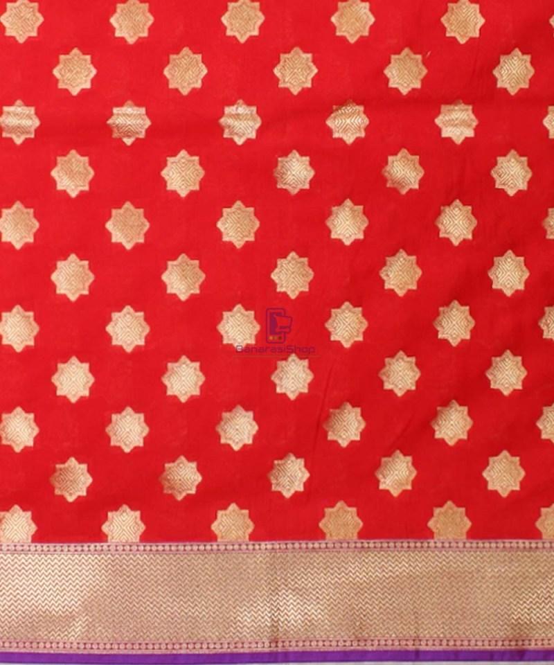 Woven Banarasi Art Silk Dupatta in Red Candy 3