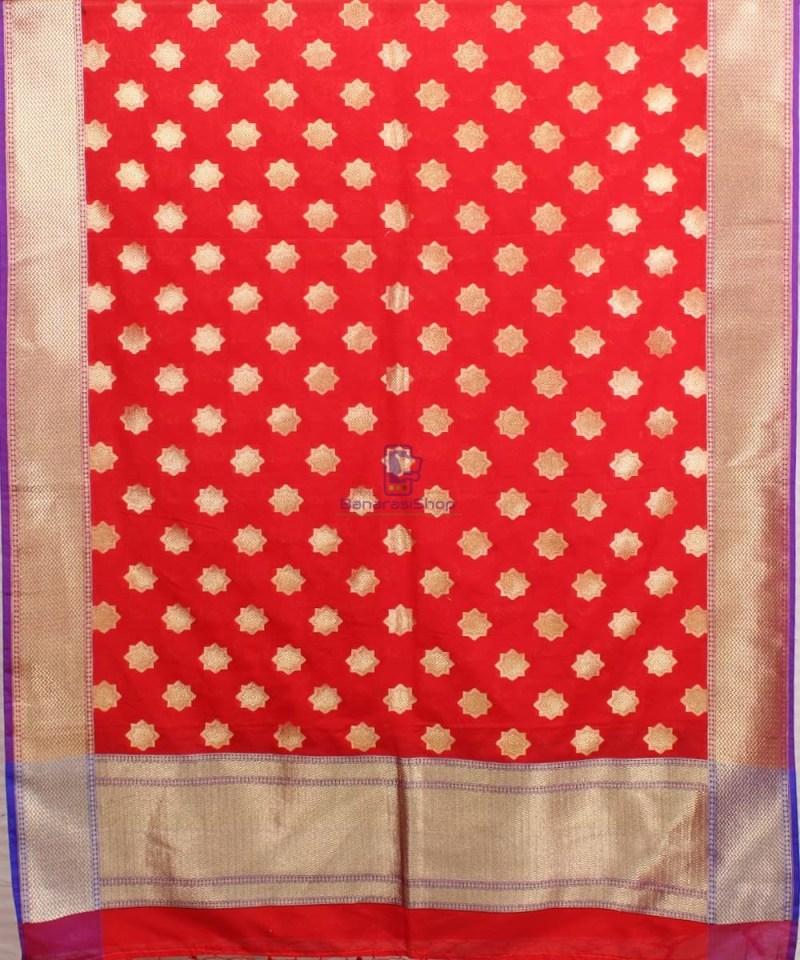 Woven Banarasi Art Silk Dupatta in Red Candy 2