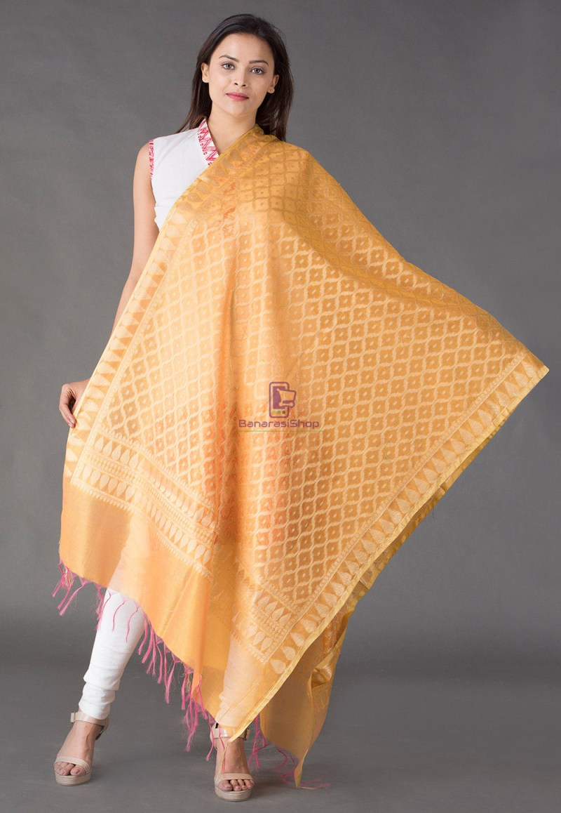 Banarasi Cotton Silk Dupatta in Mustard 1