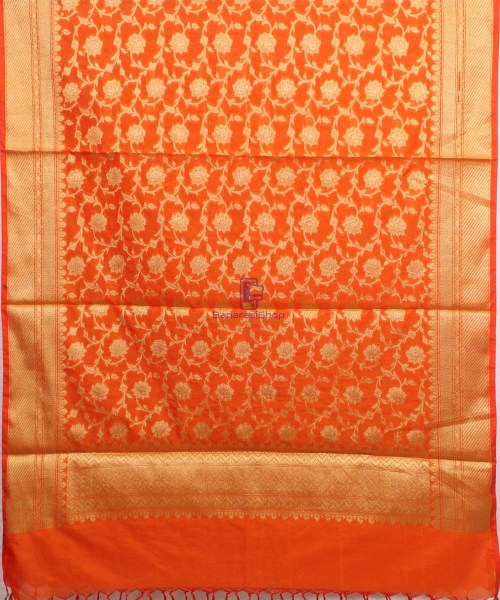 Woven Banarasi Art Silk Dupatta in Orange 4