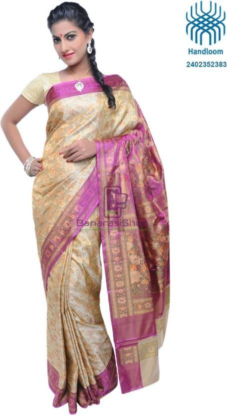 Pure Banarasi Handloom Jamawar Tanchoi Silk Saree in Cream and Pink 1