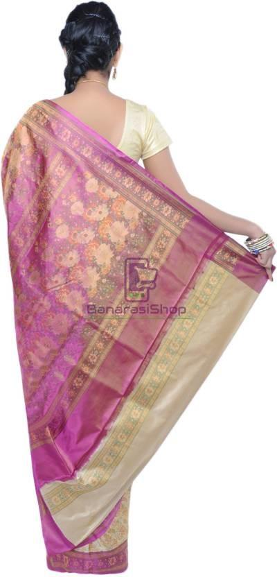 Pure Banarasi Handloom Jamawar Tanchoi Silk Saree in Cream and Pink 3