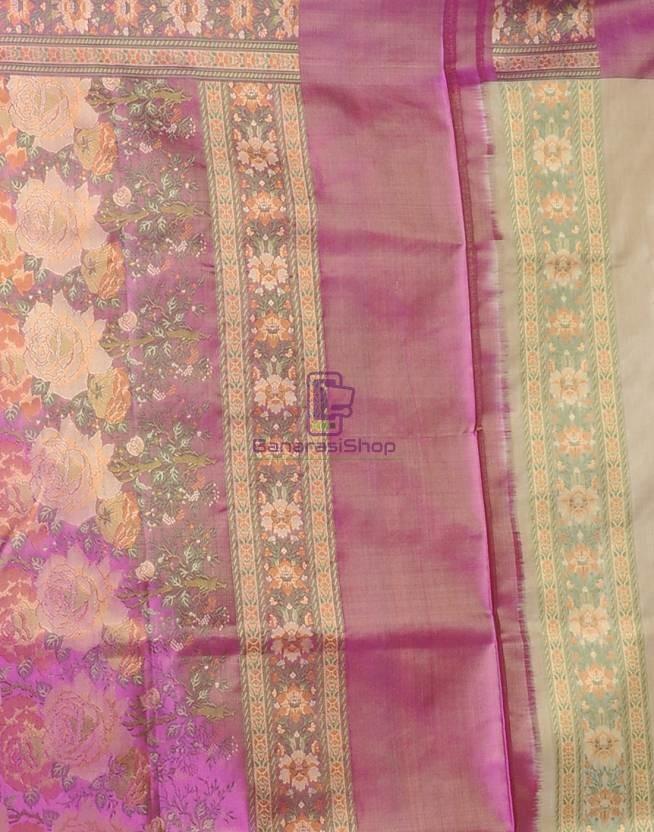 Pure Banarasi Handloom Jamawar Tanchoi Silk Saree in Cream and Pink 4