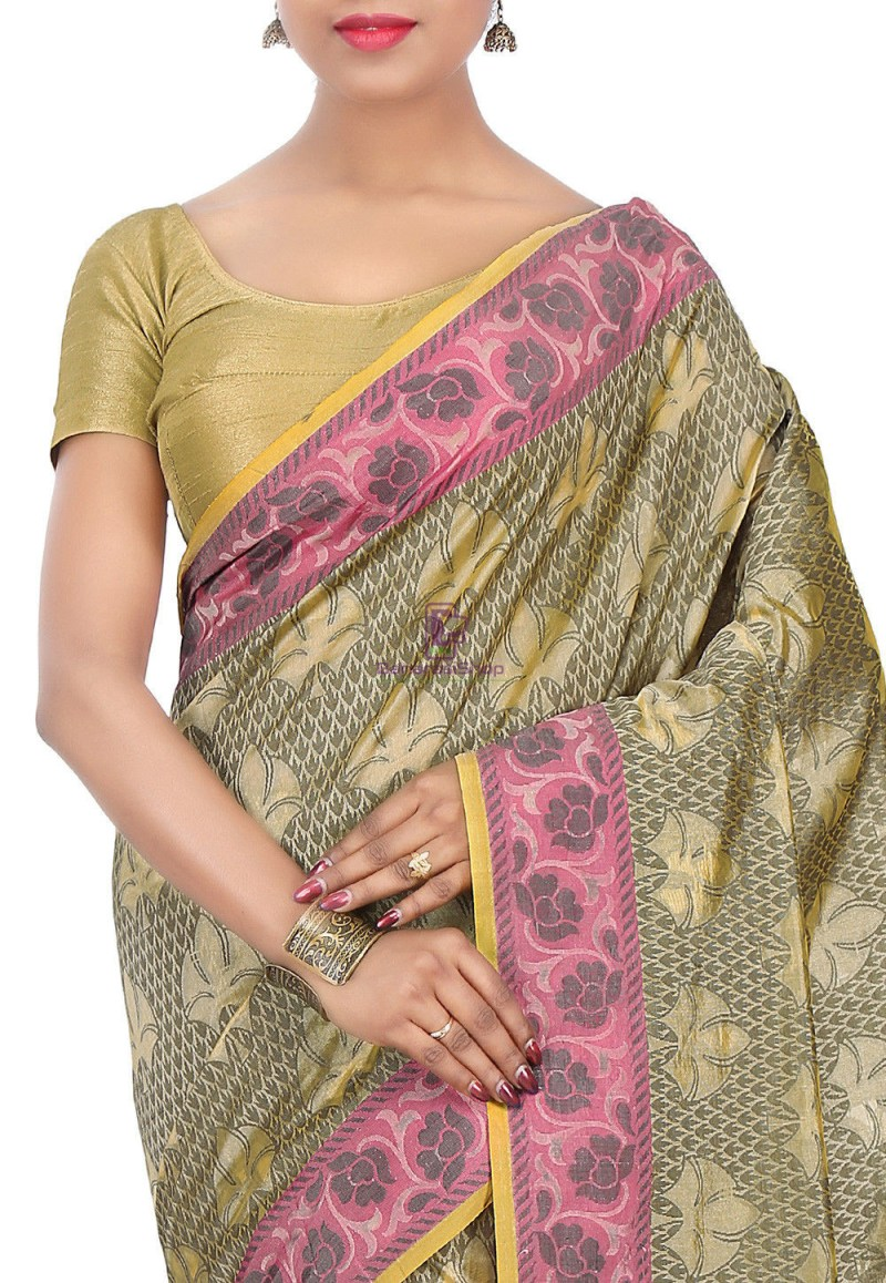 Woven Banarasi Cotton Silk Saree in Olive Green 2