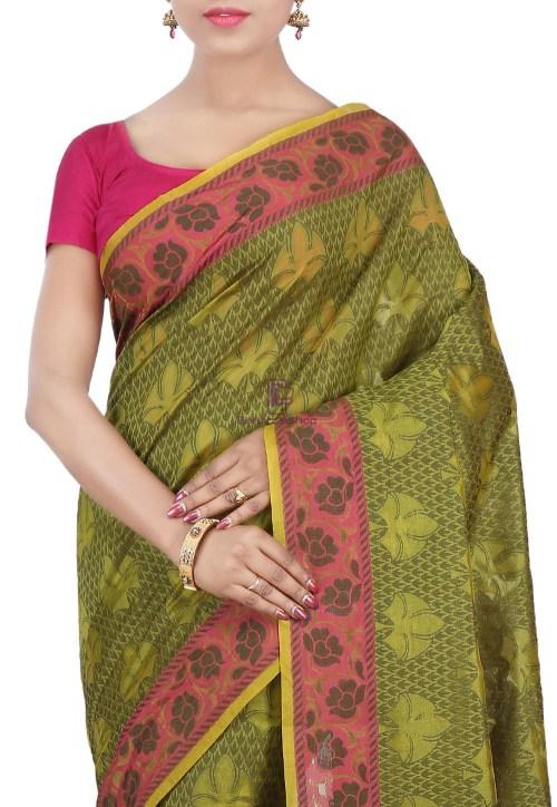 Woven Banarasi Cotton Silk Saree in Olive Green 5
