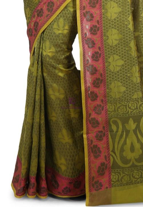 Woven Banarasi Cotton Silk Saree in Olive Green 6