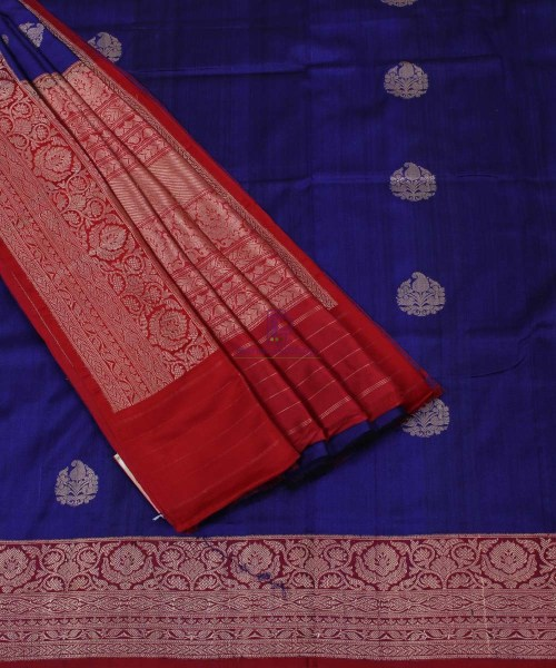 Pure Banarasi Tussar Silk Handwoven Double Shaded Saree in Blue 5