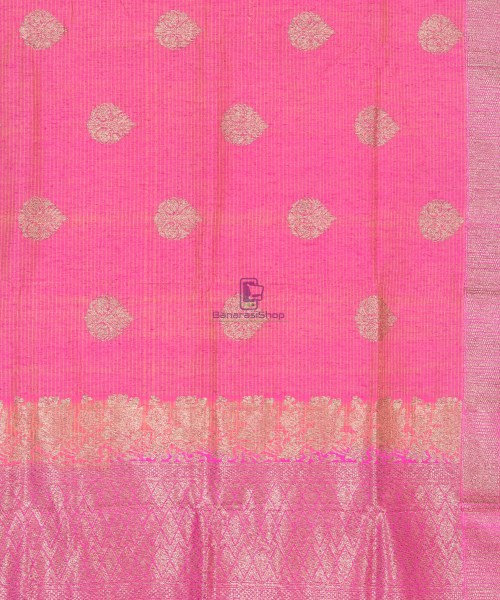 Banarasi Pure Handloom Dupion Silk Punch Pink Saree 4