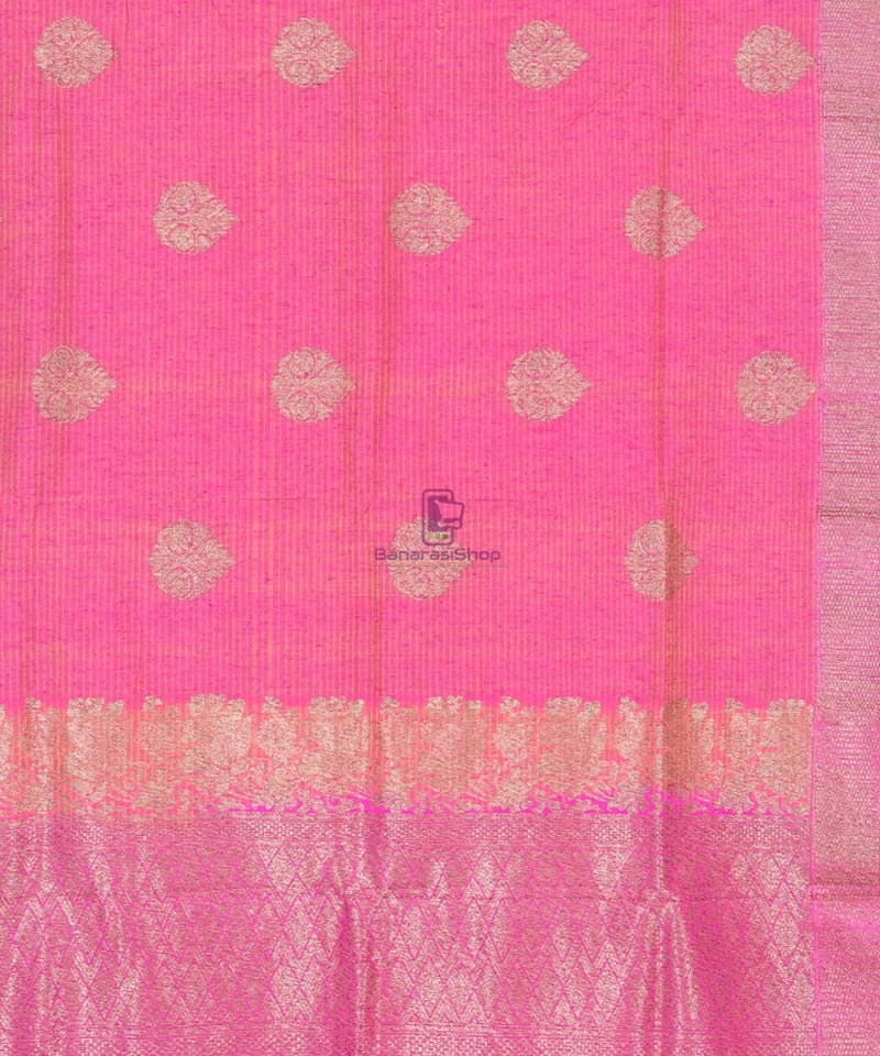 Banarasi Pure Handloom Dupion Silk Punch Pink Saree 2