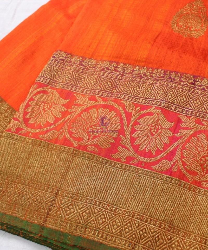 Handwoven Pure Banarasi Dupion Silk Saree in Orange 1