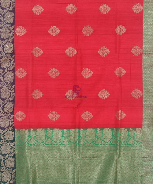 Banarasi Pure Handloom Dupion Silk Rose Red Saree 5