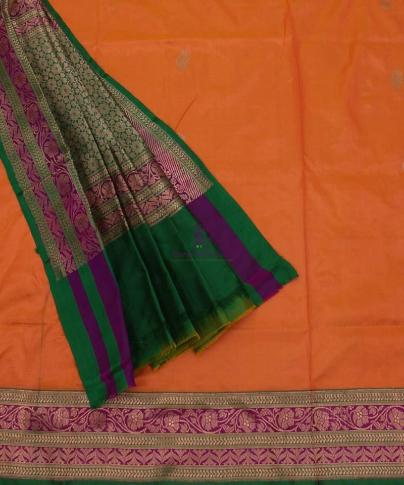 Banarasi Pure Katan Silk Handloom Saree in Orange 3