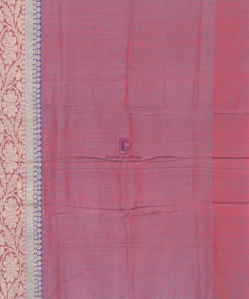 Banarasi Pure Handloom Dupion Silk Iris Blue Saree 3