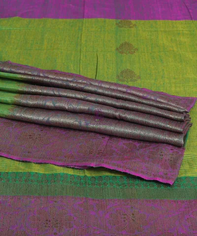 Banarasi Pure Handloom Dupion Silk Shamrock Green Saree 4