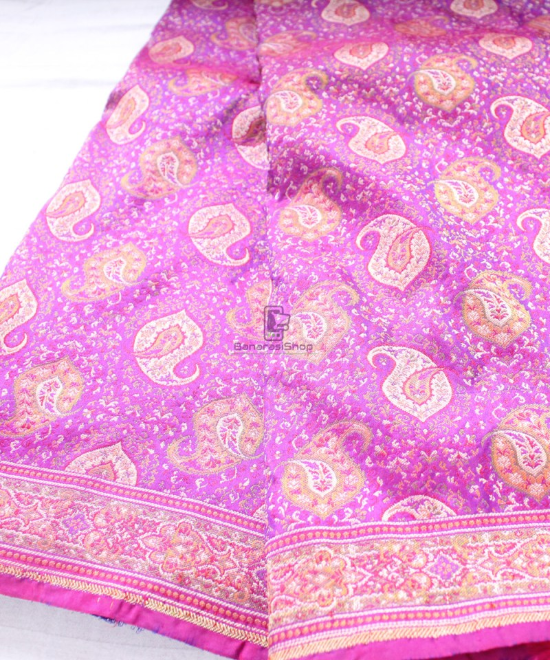Handwoven Banarasi Jamdani Kataan Silk Saree in purple 1