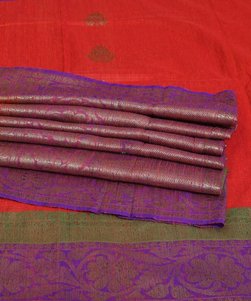 Banarasi Pure Handloom Dupion Silk Saree in Strawberry Red 1