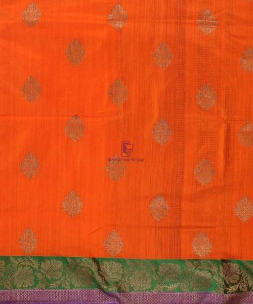 Banarasi Pure Handloom Dupion Silk Orange Saree 4
