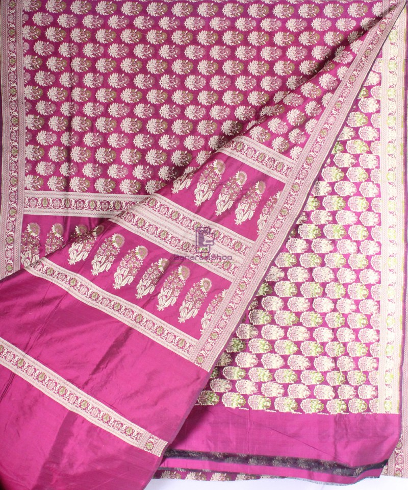 Handwoven Pure Banarasi Jamdani Katan Silk Saree in Dark Pink 2
