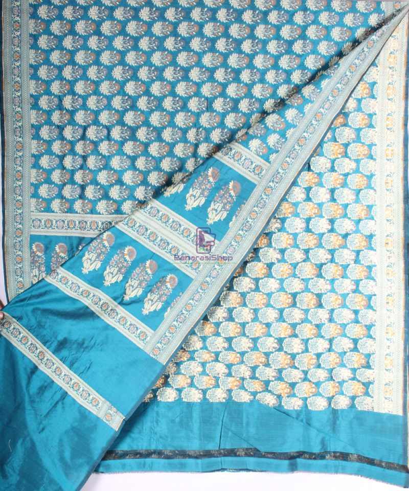 Handwoven Pure Banarasi Jamdani Katan Silk Saree in Sea Blue 2