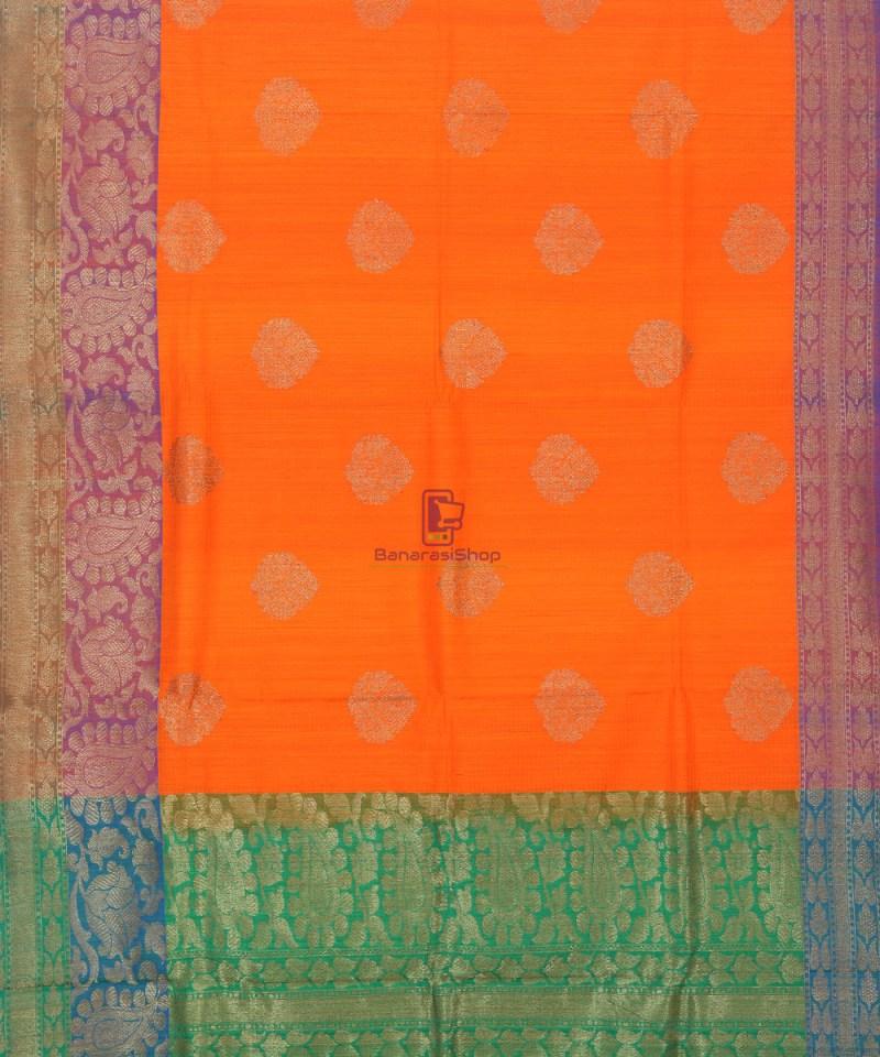 Banarasi Pure Handloom Dupion Silk Tiger Orange Saree 2