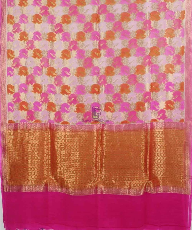 Pure Banarasi Handpainted Khaddi Georgette Silk Handloom Saree in Pink 1