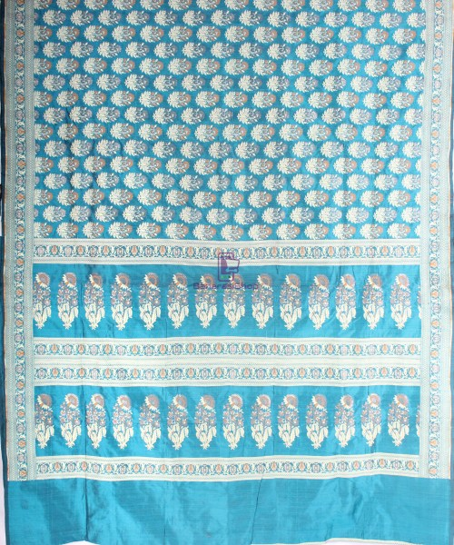 Handwoven Pure Banarasi Jamdani Katan Silk Saree in Sea Blue 5