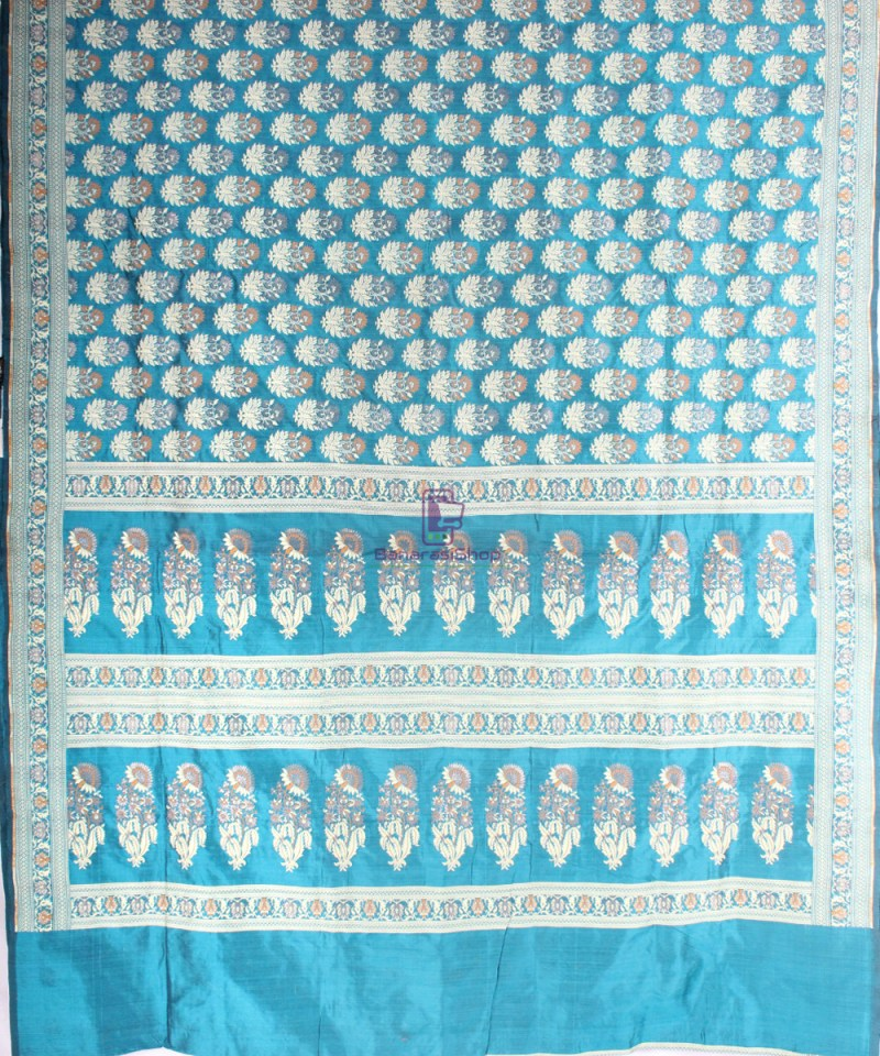 Handwoven Pure Banarasi Jamdani Katan Silk Saree in Sea Blue 3