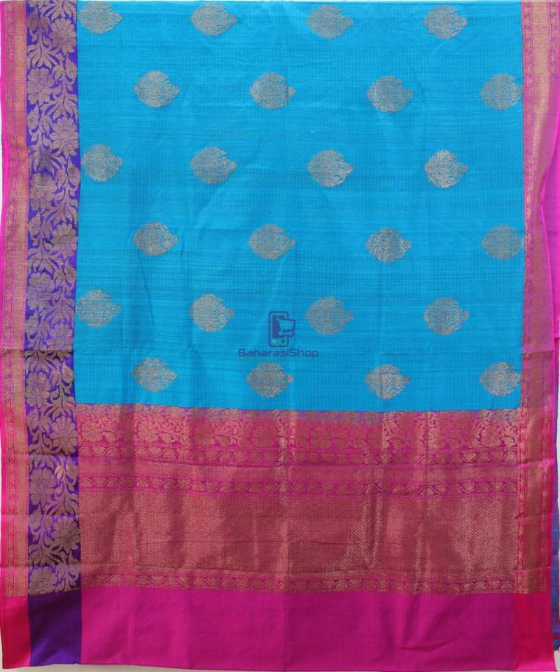 Banarasi Pure Handloom Dupion Silk Blue Saree 1