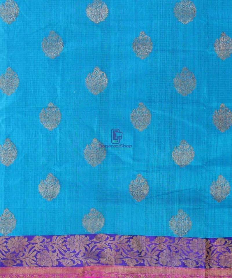Banarasi Pure Handloom Dupion Silk Blue Saree 2