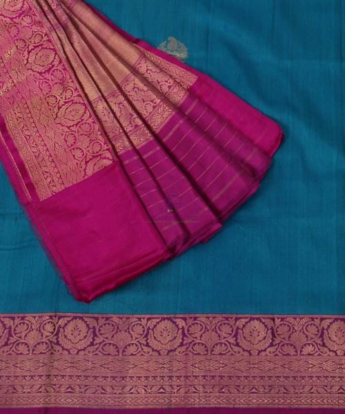 Banarasi Pure Handloom Dupion Silk Blue Saree 5