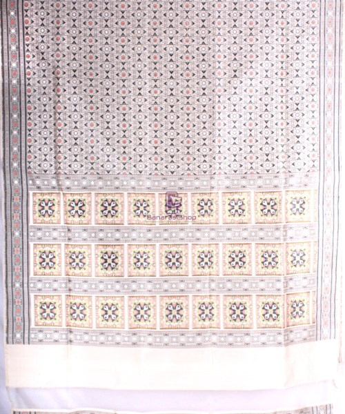 Handwoven Pure Banarasi Jamdani Katan Silk Saree in Natural Color 5