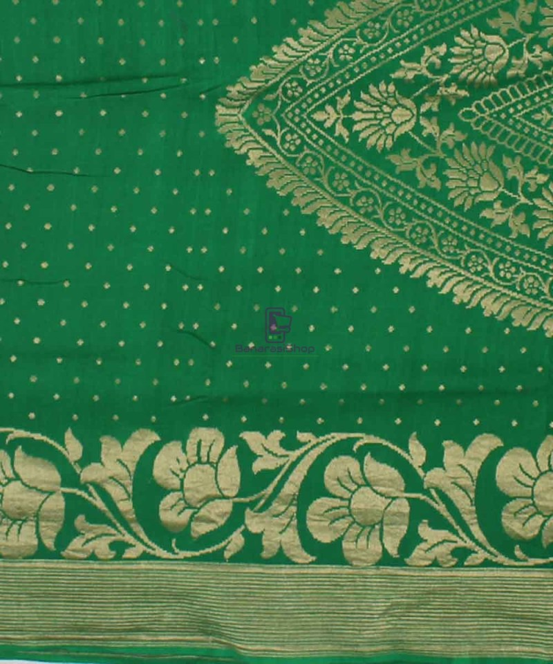 Pure Banarasi Muga Silk Handloom Saree in Dark Green 2