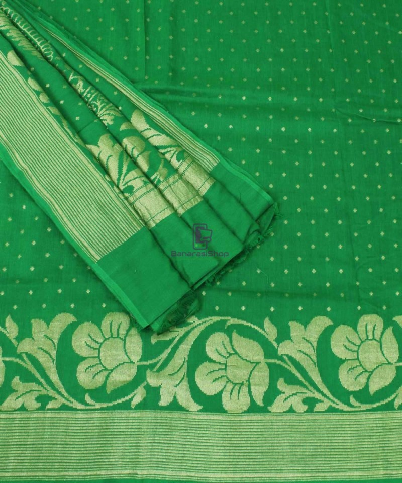 Pure Banarasi Muga Silk Handloom Saree in Dark Green 3