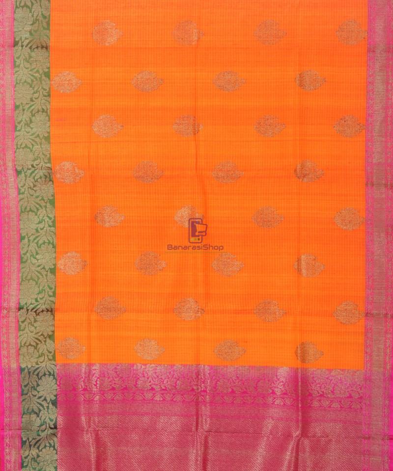 Banarasi Pure Handloom Dupion Silk Tangerine Orange Saree 3