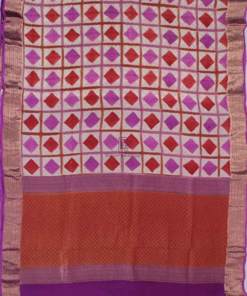 Pure Banarasi Handpainted Muga Silk Handloom Saree in Pink and Red 1