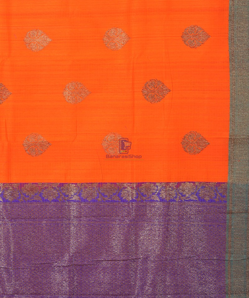 Banarasi Pure Handloom Dupion Silk Fire Orange Saree 3