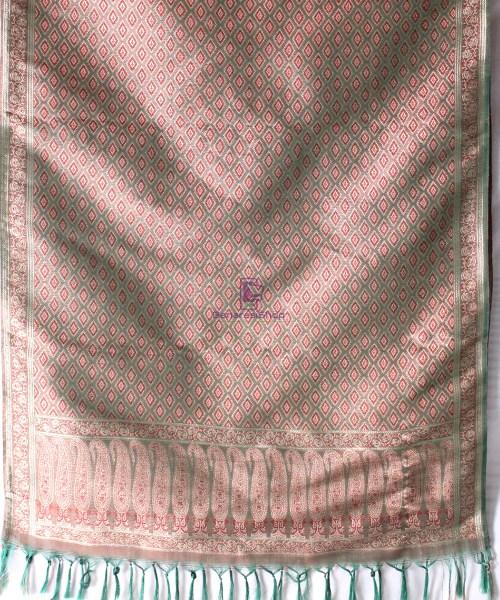 Handwoven Tanchoi Banarasi  Silk Stole in Basil Green 4