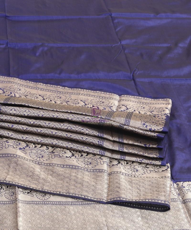 Banarasi Pure Katan Silk Handloom Blue Silk Saree 4