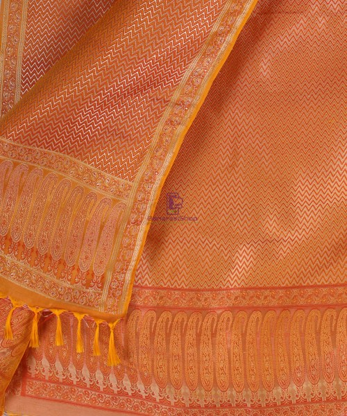 Handwoven Tanchoi Banarasi  Silk Stole in Yellow Orange 4