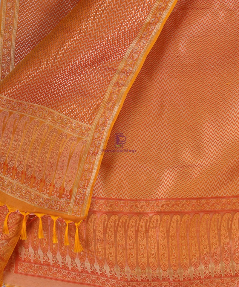 Handwoven Tanchoi Banarasi  Silk Stole in Yellow Orange 2