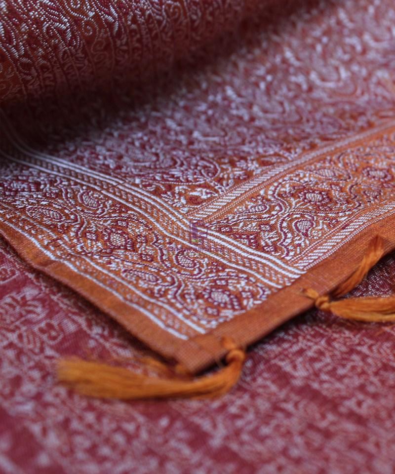 Handwoven Tanchoi Banarasi  Silk Stole in Crimson 1