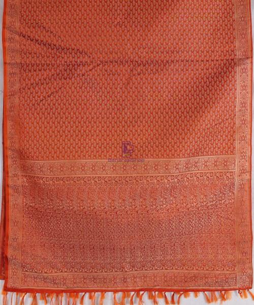 Handwoven Tanchoi Banarasi  Silk Stole in Crimson 5