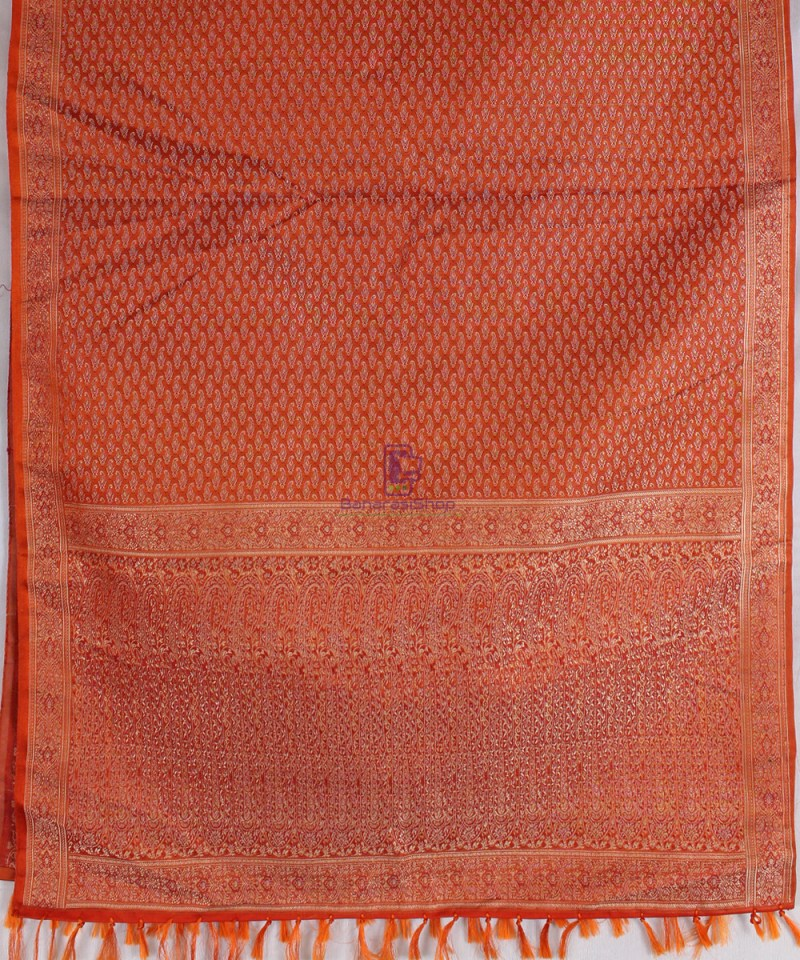 Handwoven Tanchoi Banarasi  Silk Stole in Crimson 3