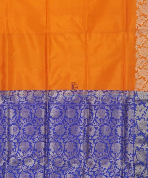 Banarasi Pure Handloom Orange Katan Silk Saree 6