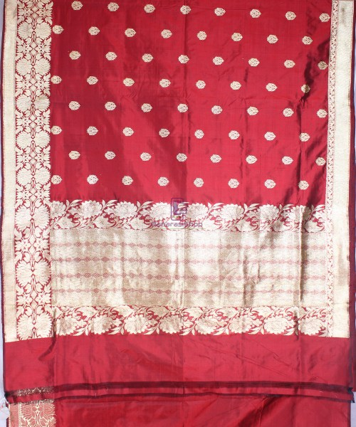 Handwoven Pure Katan Banarasi Silk Saree in Royal Red 5