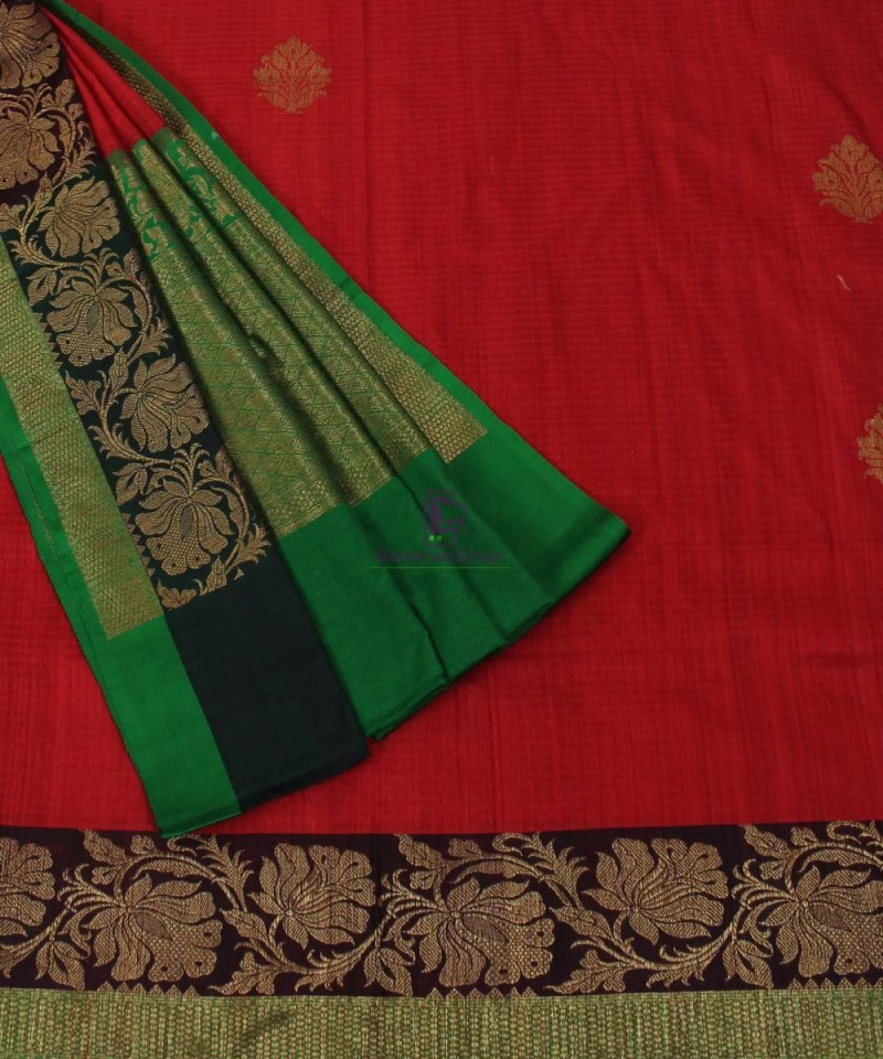 Banarasi Pure Handloom Dupion Silk Red Saree 3