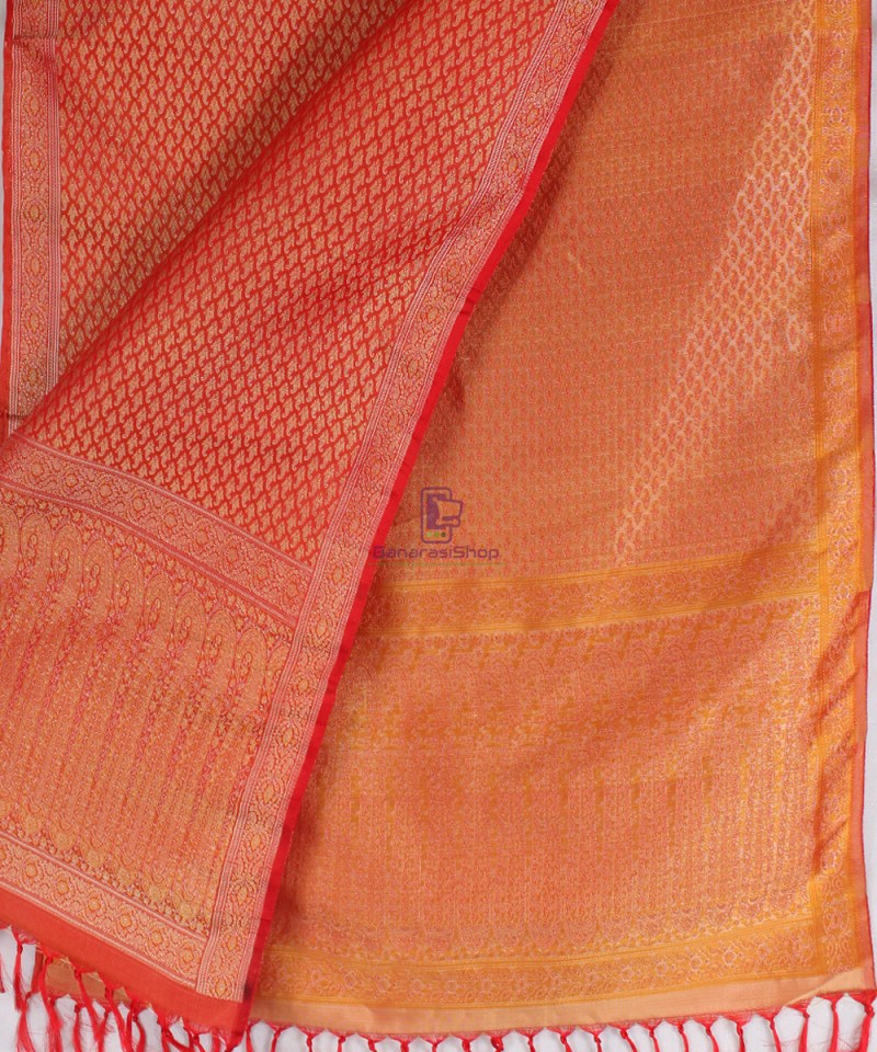 Handwoven Tanchoi Banarasi Silk Stole in Red 2