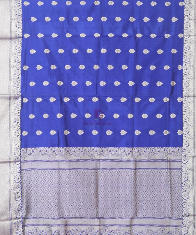 Banarasi Pure Katan Silk Handloom Cobalt Blue Saree 1
