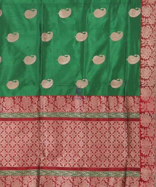Banarasi Pure Katan Silk Handloom Bottle Green Saree 5